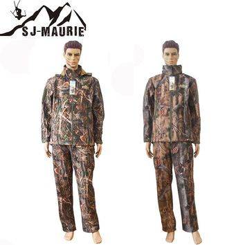 SJ-MAURIE Winter Waterproof Outdoor Bionic Camouflage Hunting Suits Trekking Tactical Camouflage Clothes Hoody Coat and Pants
