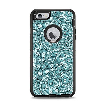 The Teal Floral Paisley Pattern Apple iPhone 6 Plus Otterbox Defender Case Skin Set