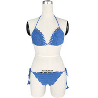 2016 New Blue Limited Handmade Knitting Crochet Bikini Swimwear for Womens Gift-38