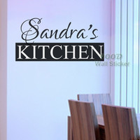 Personalized name Kitchen wall sticker, home decoration quote wall decal ,diy vinyl wall art decal