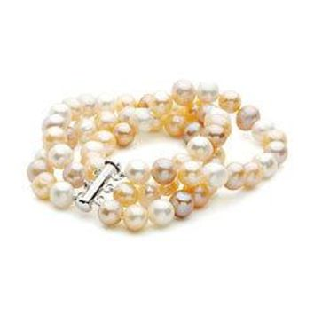 Sterling Silver and Freshwater Multi-Color Cultured Pearl Triple Strand Bracelet - 7.25 Inch / 8