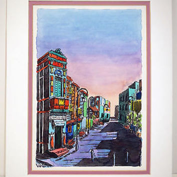 Watercolor Ink Painting Signed Jose Valponi Buenos Aires Street Scene