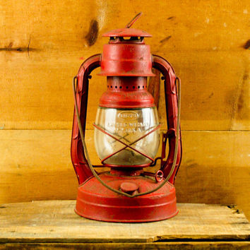Vintage Dietz Little Wizard Red Lantern by esther2u2 on Etsy