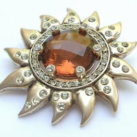 Antique crystal brooch pin, vintage 1930's Monet sun brooch, orange crystal rhinestone brooch, antique jewelry, wedding bridesmaid