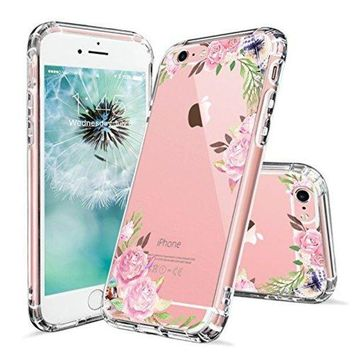 DCCKV2S iPhone 6s Case, iPhone 6 Cases for Girls, MOSNOVO Pink Rose Flower Floral Printed Clear Design Transparent Plastic Hard Slim Case with TPU Bumper Gel Protective Cover for Apple iPhone 6 6s (4.7 Inch)