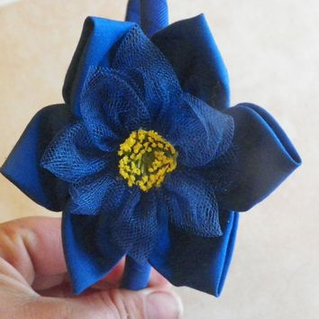 Royal blue headband and flower. With a nice yellow center. - $6.00 - Handmade Crafts by AngelPetals