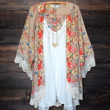 Lady Women's Fashion Floral Print Loose Long Chiffon Cardigan Top Blouse 03-003