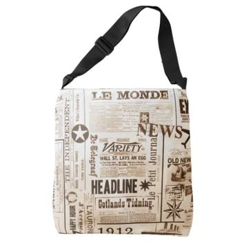 Vintage Newspaper Typography Old Ads News Crossbody Bag
