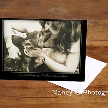 """Greeting Card, Note Card, Wolf Card, Dog, Puppy Love, Paper Goods, Vintage Card, Fine Art, 5""""x7"""", Greeting Cards, Sepia, Nancy G"""