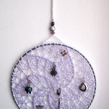 Earring Holder Display / Jewelry Organizer Stud Post & Dangle / Dreamcatcher - Light Baby Purple