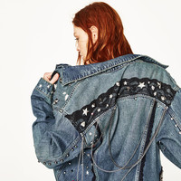 DENIM JACKET WITH METALLIC DETAILS - NEW IN-WOMAN | ZARA United States