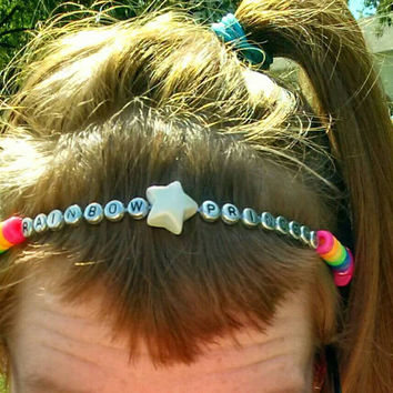 Rainbow Princess Kandy Beaded Headdress/ Crown/ Necklace/ Anklet Rainbow Kandi Star & Letter Word Beads