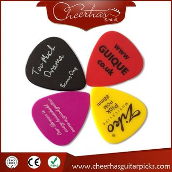 Free shipping custom logo guitar pick plectrum with one color logo one side printing mixed thickness