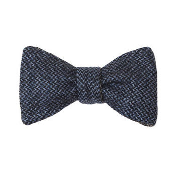 Blue Bow Tie. Self Tie Bow Tie. Wool Bow Tie. Double Sided Bow Tie.