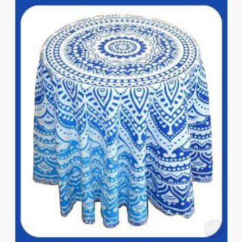 Round Blue Ombre Tapestry