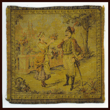 Antique FRENCH TAPESTRY Woven Lady and Her by TheMaineCoonCat