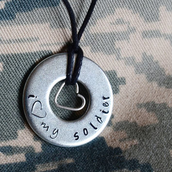 I Love My Soldier Metal stamped Necklace / Airman - Marine - Sailor - Seaman