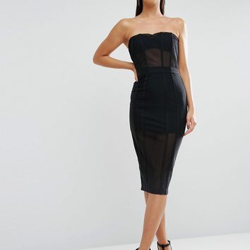 ASOS PREMIUM Corset Mesh Panelled Pencil Dress at asos.com