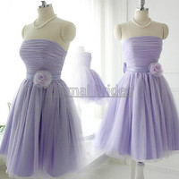 Strapless Tulle pleated Bodices Tulle Ball Gown Wasit with handmaking Flowers/Short Tulle Ball Dress/Bridesmaides Dress