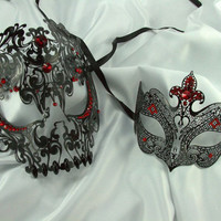 Lover's Collection - His & Her's Matching Metal Filigree Laser Cut Masquerade Mask w/ Red Rhinestones