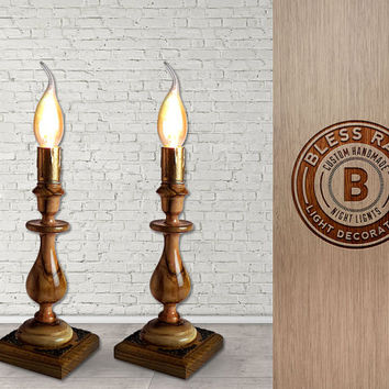 Pair of Wooden Candle Lamps, Polished Wood Lighting Decor, Rustic Home Decor, Unique Light Fixture, Reading Lamp Set, Wooden Table Lamps