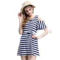 CrazyPomelo Blue & White Off Shoulder Falbala Sleeve Chiffon Dress With Belt