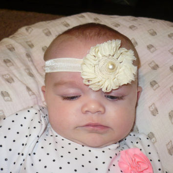 Baby Headband, Baby Headbands, HairBand  Headband Elastic Creme Cream Beige Ivory Vanilla Flower Hair Bands  Flowers    Goodtreasures123