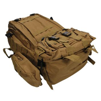 Practical Large Capacity Cloth Single Double Shoulder Tactics Military Fans Backpack 55L Mud Color