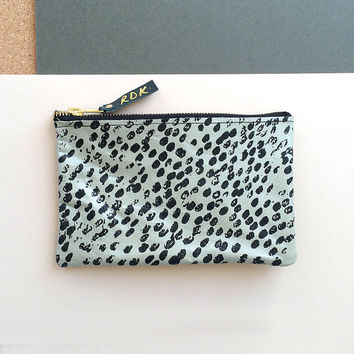 Leather Barnacle Make Up / Zip Purse in Metallic Teal and Black by Rosie Drake Knight