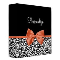 Chic Leopard Print Burnt Orange Bow With Name Vinyl Binder