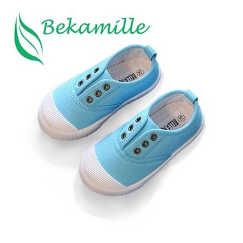 Bekamille Girls Boys Fashion Canvas Sneakers Children Shoes For Kids Flats Heels Casual Loafer Shoe Toddle Little Big Kid