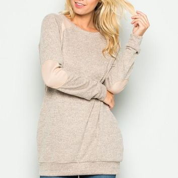 Oatmeal Brushed Elbow Patch Tunic with Pockets
