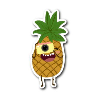 Cute Fruits - Pineapple Snapping a Picture Sticker