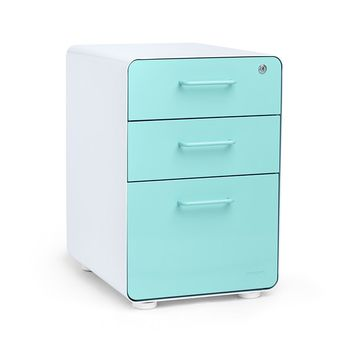 White + Aqua Stow 3-Drawer File Cabinet | Poppin