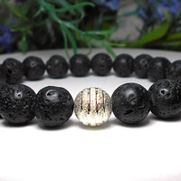Men's Lava Rock, Mens Volcano Rock Bracelet, Mens Bracelet, Mens Black Bracelet, Man Bracelet, Mens Jewelry, Gift for Him