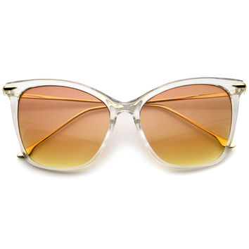 Oversize Retro 1950's Slim Cat Eye Gradient Lens Sunglasses A829