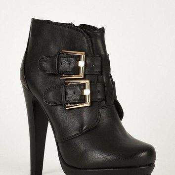 LMFIW1 Double Buckle Strap Chunky High Heel Thick Platform Ankle Boots