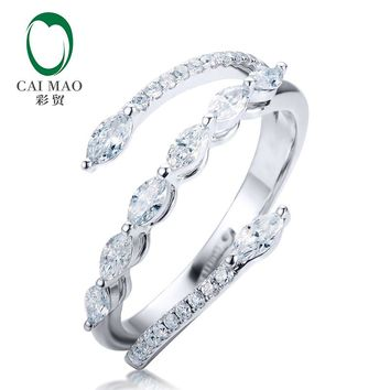 CaiMao 14kt White Gold Marquise Cut 0.46ctw Natural Diamond Engagement Ring for Women Jewelry