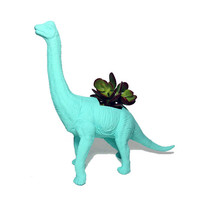 Up-cycled Key West Blue Apatosaurus Dinosaur Planter