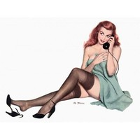 NEW! Retro Pinup Girl Redhead Phone Wearing Black Stockings Vintage Poster Wall