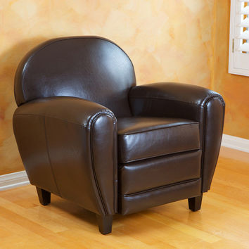 Unique Retro Modern Vintage Oversize Brown Lounge Bonded Leather Accent Club Chair