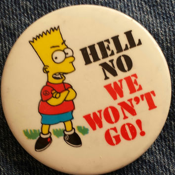 "BOOTLEG BART Vintage 2 1/4"" 1990 Deadstock Bart Simpson Anti-War Button Pin back Button  simpsons 90s fugazi anarcho crass"
