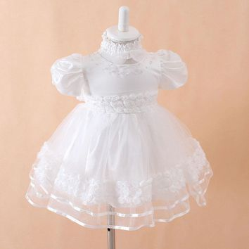 High Quality Baby Girls Elegant Communion Dresses NEW fashion Child Princess White Party Wedding dress Christening Gown for 0-1Y