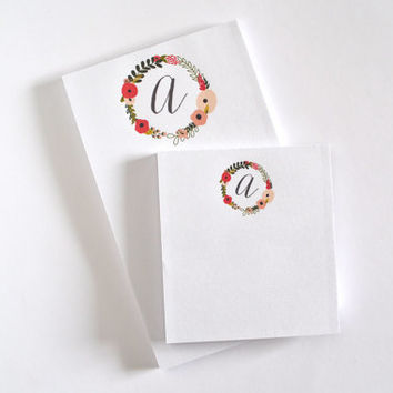 Personalized Notepad Set | Illustrated Floral Monogrammed Notepads : Blooming Wreath Collection