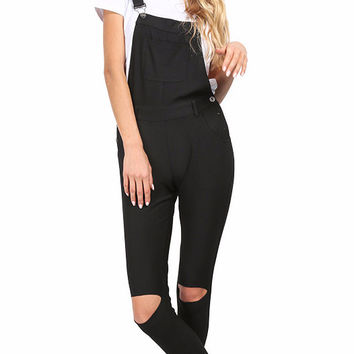 Kassie Ripped Black Overalls