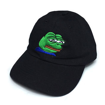 Sad Frog Cap in Black