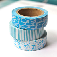 3 Rolls Washi Tape Set - Assorted Masking Tapes - Blue Raindrop Blue Stripe Blue Anchor Washi Tape Set - 10 meters per roll