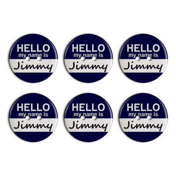 Jimmy Hello My Name Is Plastic Resin Button Set of 6