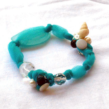 Fabric  bracelet tourquoise whit beads Bangle with recycled seaglass and shells for her - one of a kind - OOAK