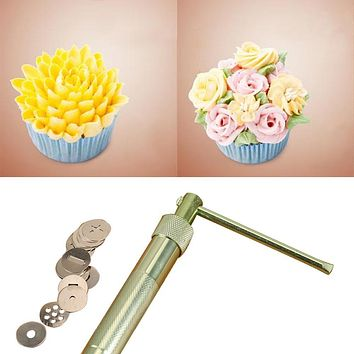 Useful Stainless Steel Sugar Paste Extruder Craft Gun Tips Craft Fondant Cake Sculpture Polymer Clay Tools Random Color